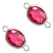 Distanziatori di vetro Crystal Glass 18x10 mm rosa indiano cristallo - argento