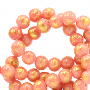 Perline in pietra naturale 4 mm giada rosa corallo-oro