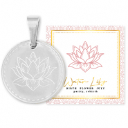 Mix & Match ciondoli in acciaio inossidabile 15 mm Birth flower July-Water lily argento